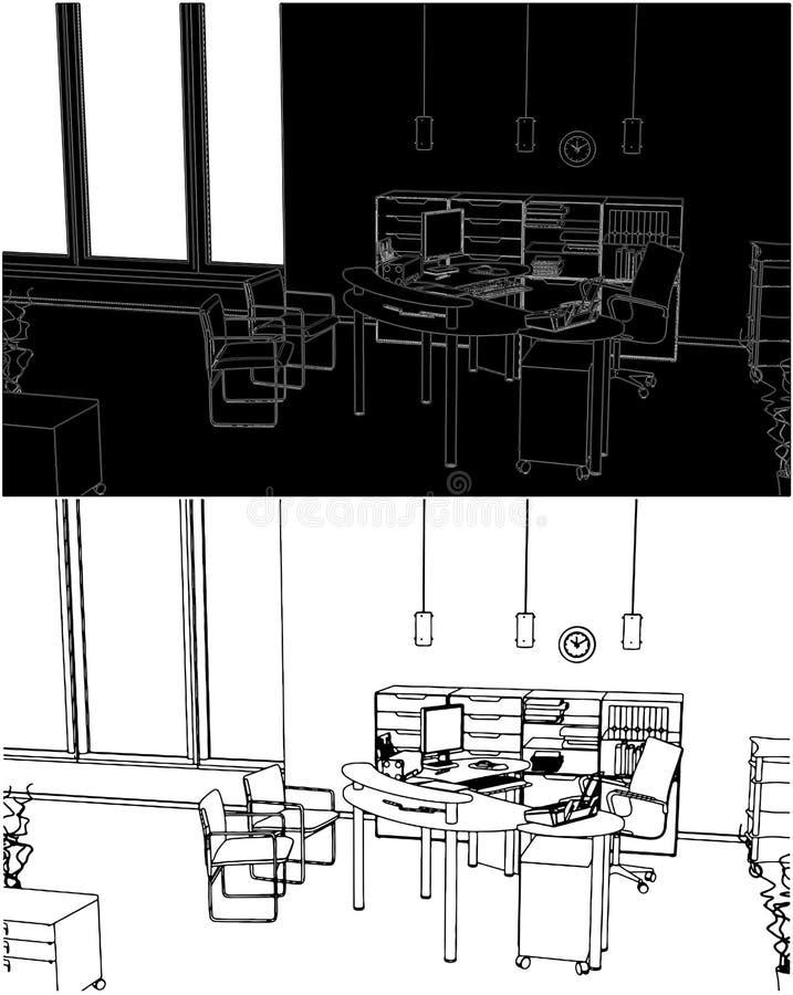 Innenbüro-Raum-Vektor 02 lizenzfreie abbildung