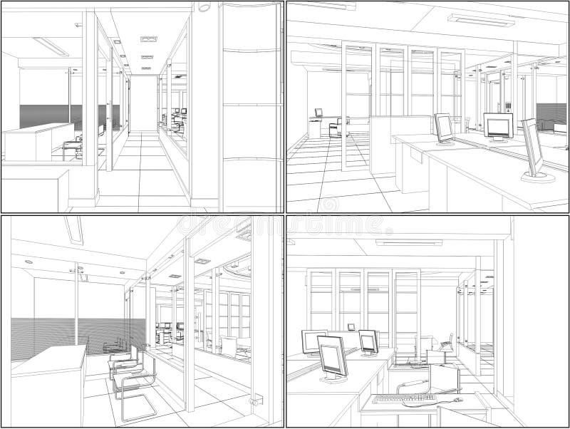 Innenbüro-Raum-Vektor 06 vektor abbildung