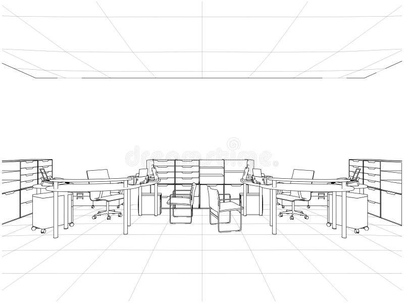 Innenbüro-Raum-Vektor vektor abbildung