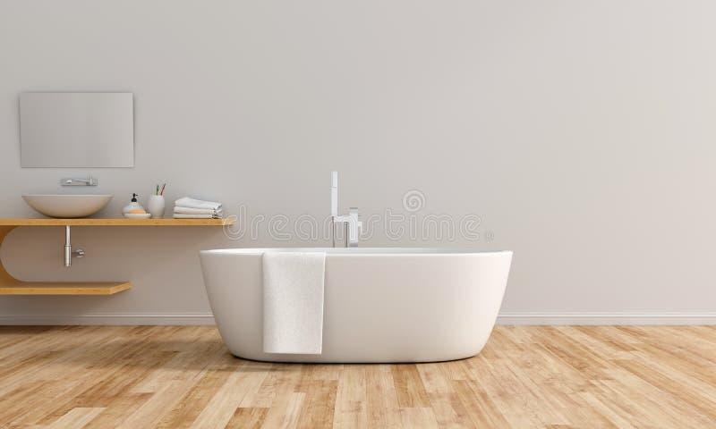 Innenbadewanne des wei?en Badezimmers, Wiedergabe 3D lizenzfreie abbildung