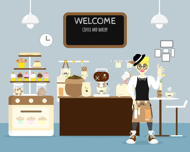 Innencafékaffeestube und barista tragendes Schutzblech mit süßer Bäckerei, Kuchen, Muffin, Plätzchen, Kaffee im blauen Hintergrun vektor abbildung