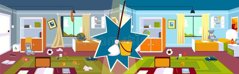 Inneneinrichtung des Kinderzimmers vor und nach der Reinigung mit Mopp und Eimer im Cartoon-Stil stock abbildung