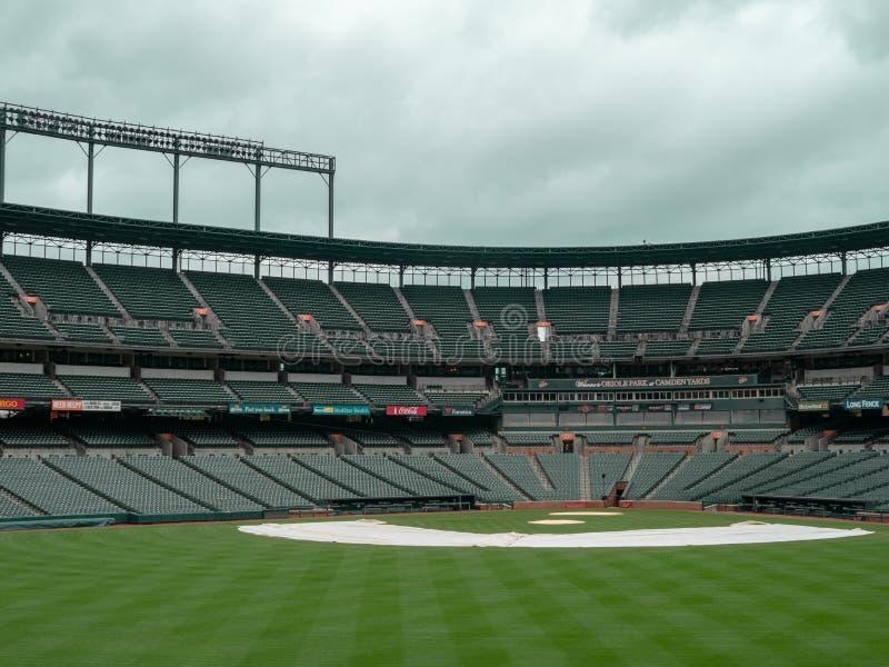 Innenfeldansicht von Camden Yards, Stadion der Baltimore Orioles, leeren sich in der Nachsaison lizenzfreie stockbilder
