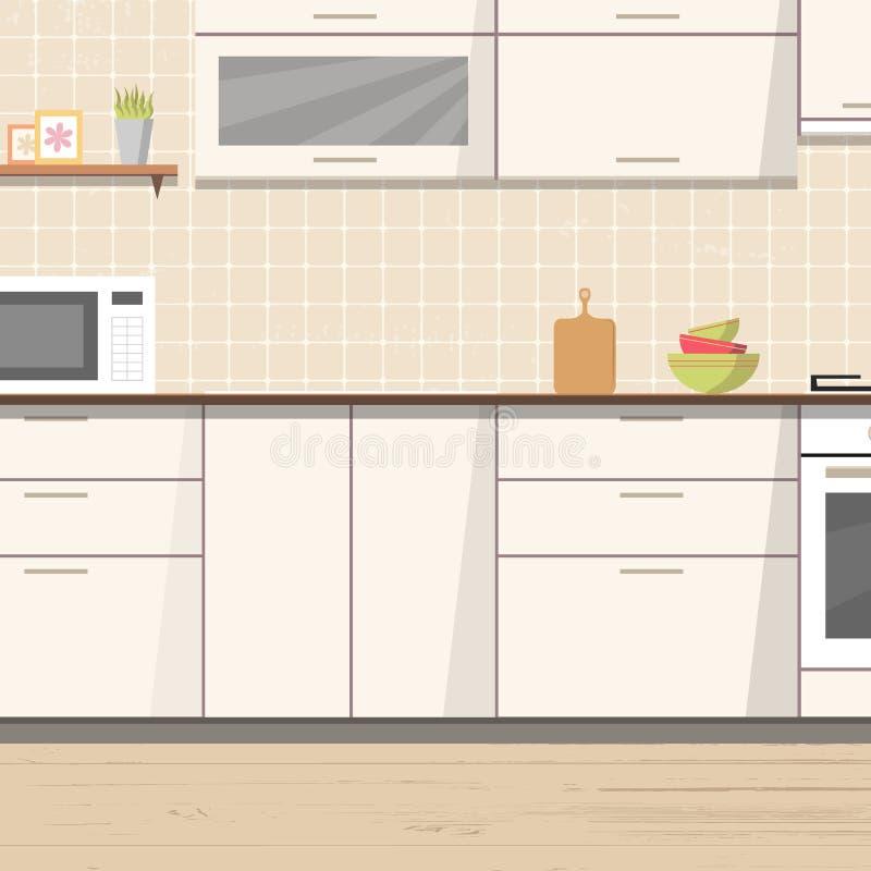 Innenhintergrund der weißen Küche mit Möbeln und Ofen stock abbildung