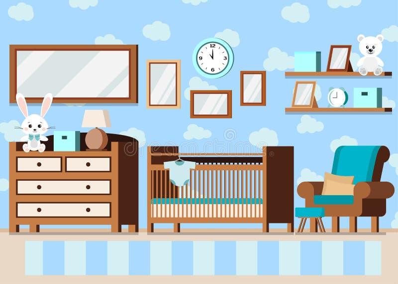 Innenhintergrund des gemütlichen Baby-Raumes des Jungen in der flachen Art der Karikatur lizenzfreie abbildung