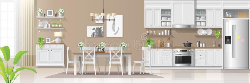 Innenhintergrund des modernen rustikalen Hauses mit Kombination der Küche und des Esszimmers lizenzfreie abbildung