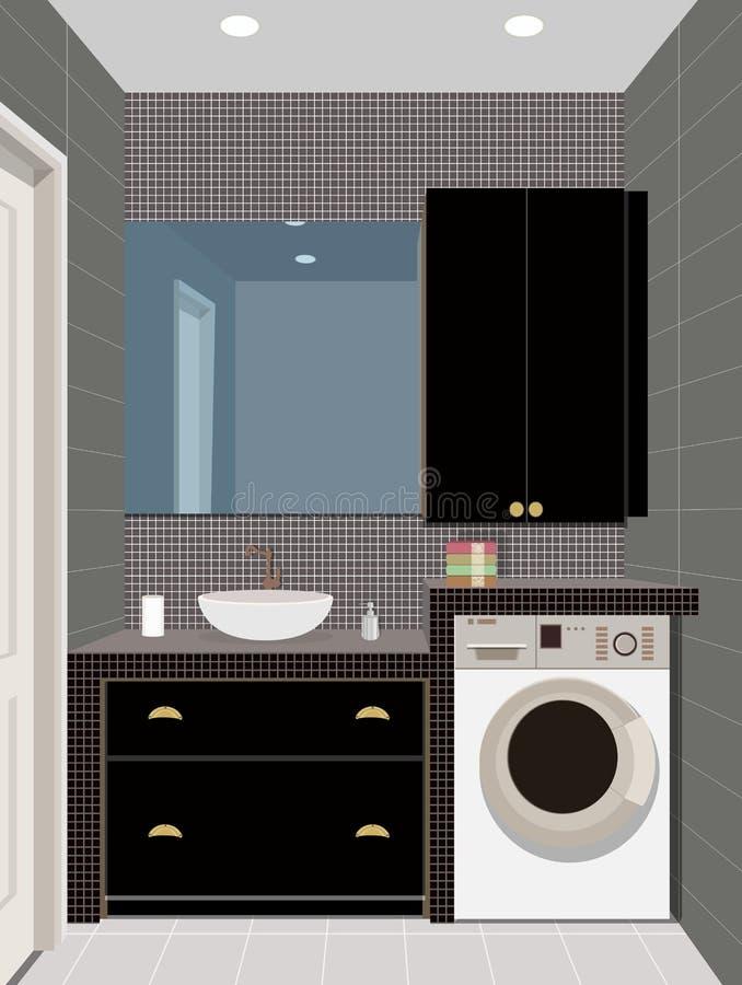 Innenhintergrund des schwarzen Badezimmers mit Möbeln Auslegung des modernen Badezimmers Badezimmerillustration stock abbildung