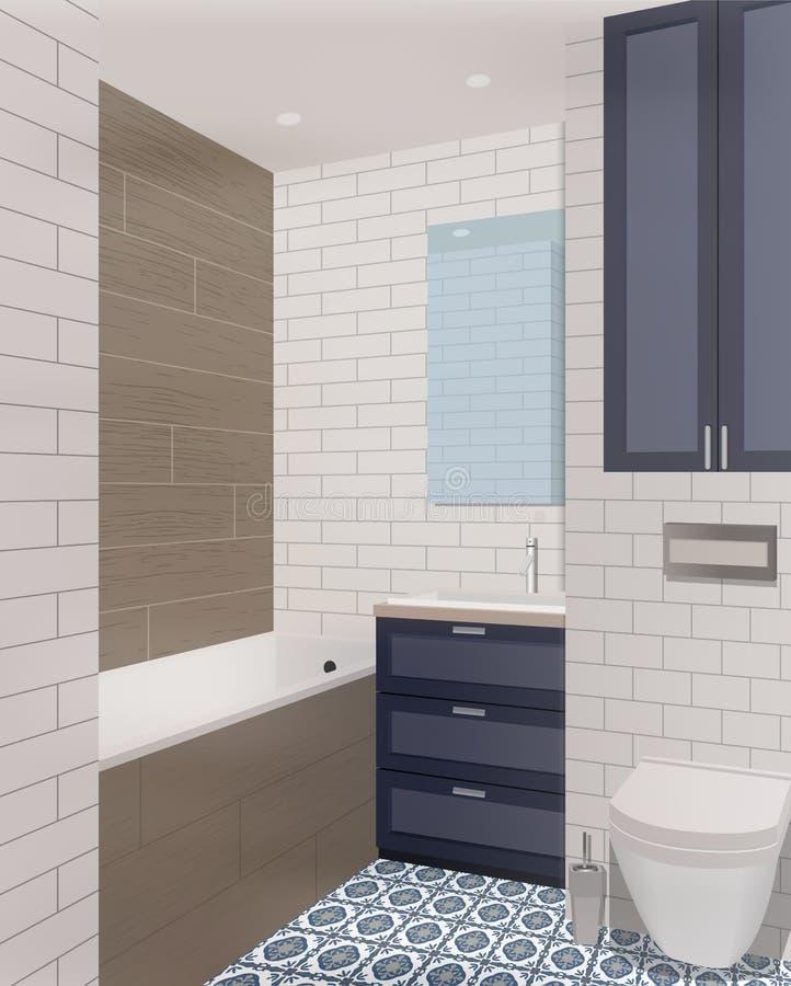 Innenhintergrund des schwarzen Badezimmers mit Möbeln Auslegung des modernen Badezimmers Badezimmerillustration vektor abbildung