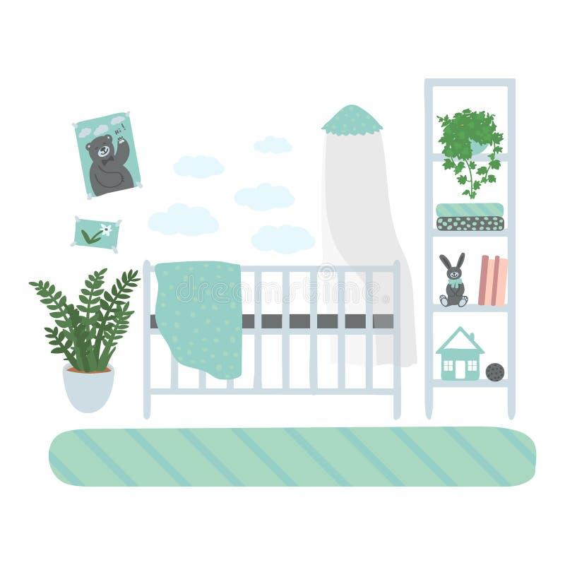 Innenkinderzimmer Ein Satz Möbel für den Raum des Jungen M?bel lokalisiert auf wei?em Hintergrund Hand gezeichnet lizenzfreie abbildung