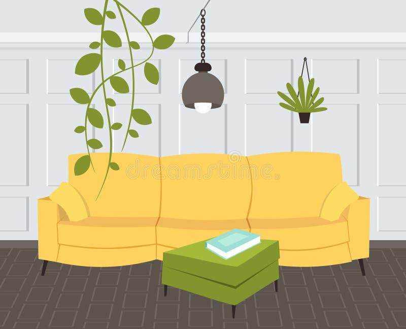 Innenleeres des zeitgen?ssischen Wohnzimmers kein moderner Wohnungshauptentwurf der Leute flach horizontal stock abbildung
