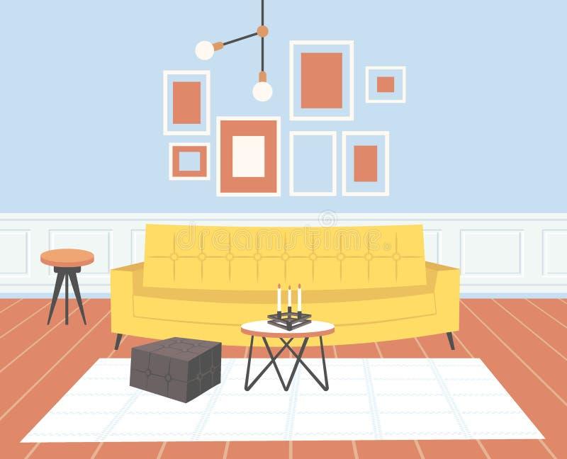 Innenleeres des zeitgen?ssischen Wohnzimmers kein moderner Wohnungshauptentwurf der Leute flach horizontal lizenzfreie abbildung