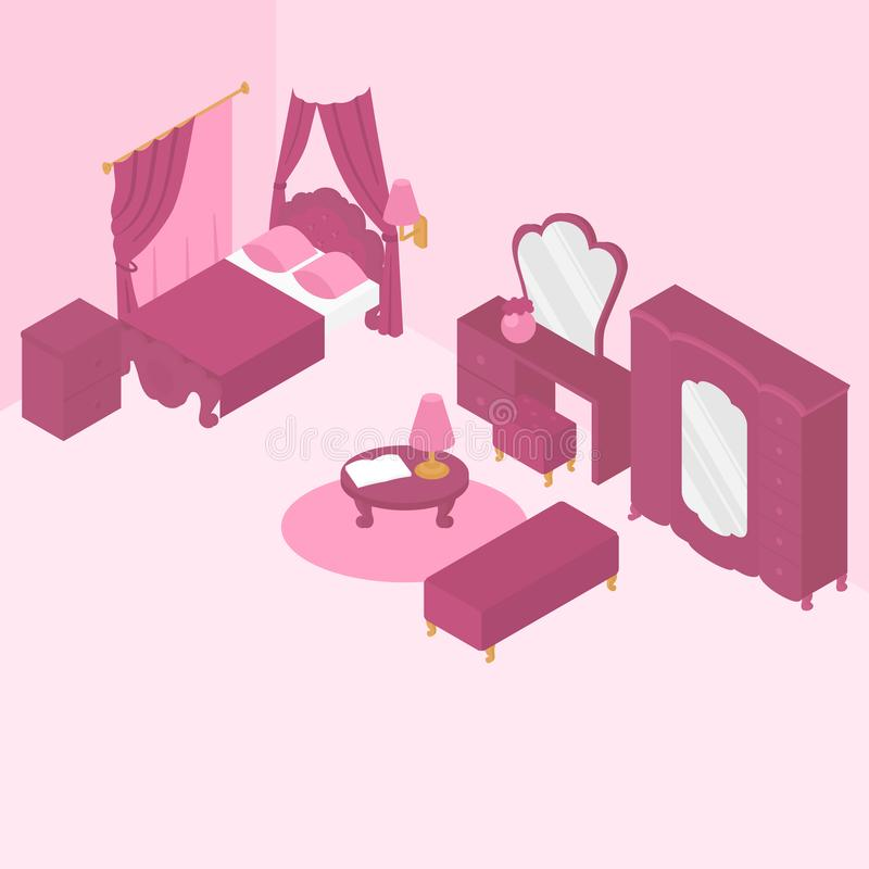 Innenmöbel des flachen isometrischen Schlafzimmers vektor abbildung