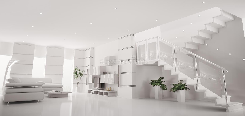 Innenpanorama 3d der weißen modernen Wohnung übertragen
