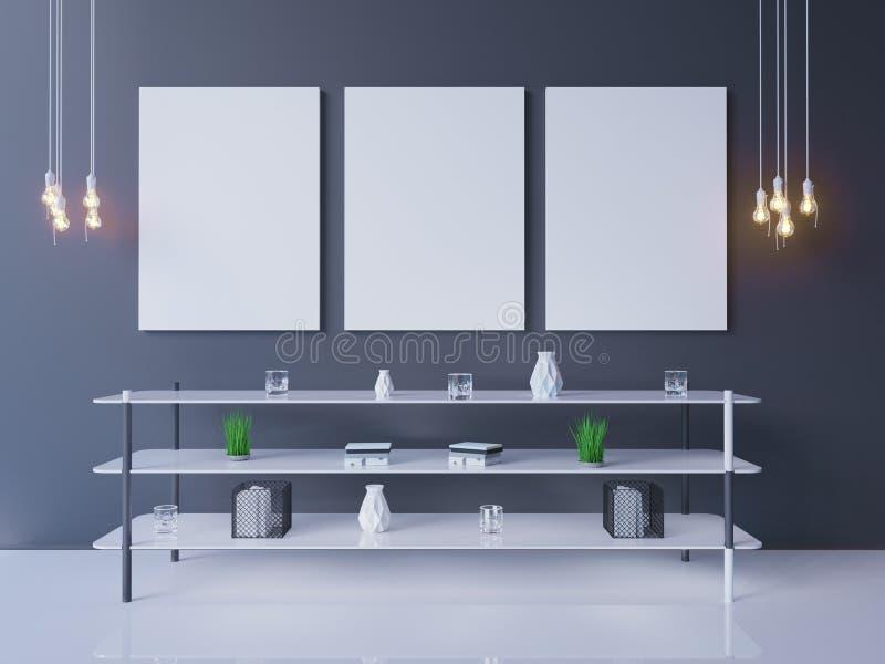 Innenplakatmodell mit leerem Rahmen und Anlagen im Raum Wiedergabe 3d Abbildung stockbilder
