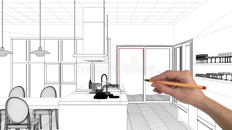 Innenprojektplanungskonzept, kundenspezifische Architektur der Handzeichnung, Schwarzweiss-Tintenskizze, Plan, der moderne Küche  lizenzfreie stockbilder