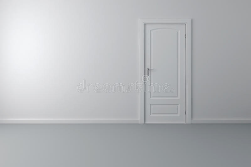 Innenraum 3d mit weißer Tür und Wänden