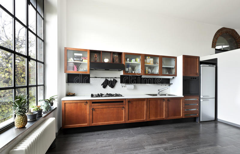 Innenraum, Ansicht der Küche stockbild