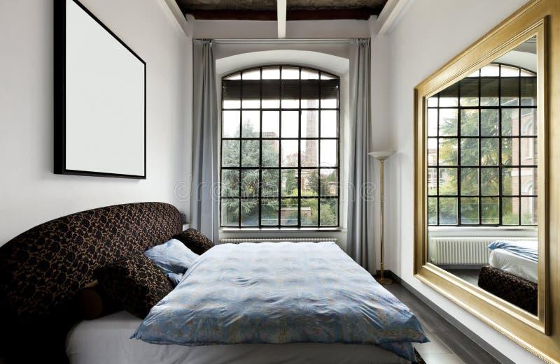 Innenraum, Ansicht des Schlafzimmers lizenzfreies stockfoto