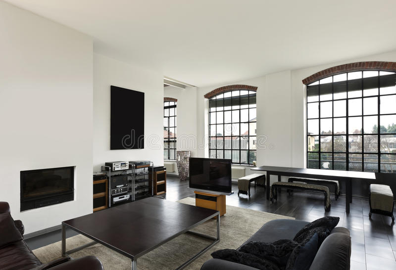 Innenraum, Ansicht des Wohnzimmers lizenzfreie stockfotografie