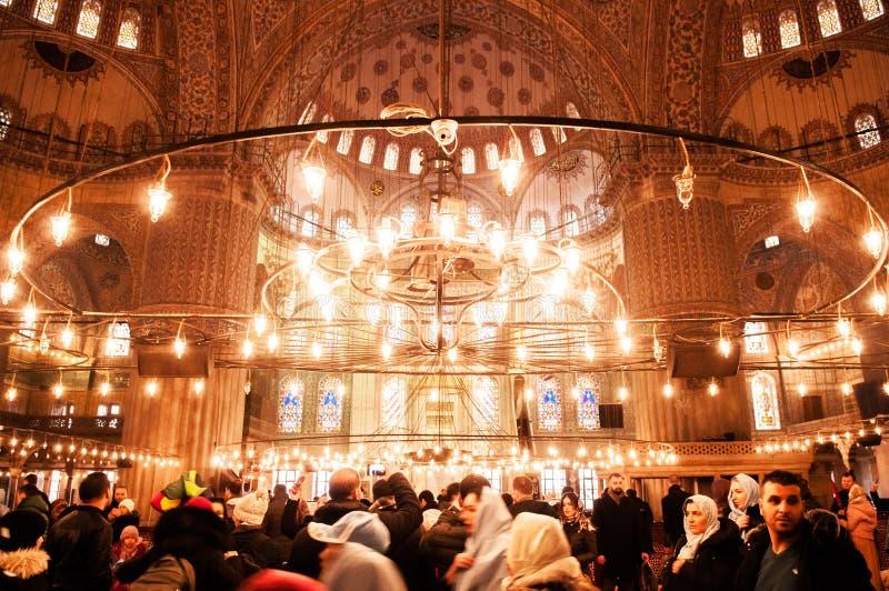 Innenraum der blauen Moschee Istanbul, Sultan ahmet Moscheendekoration stockbilder