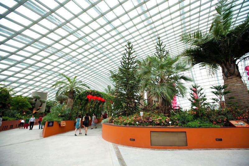 Innenraum der Blumen-Haube in den Gärten durch die Bucht, SINGAPUR stockbilder