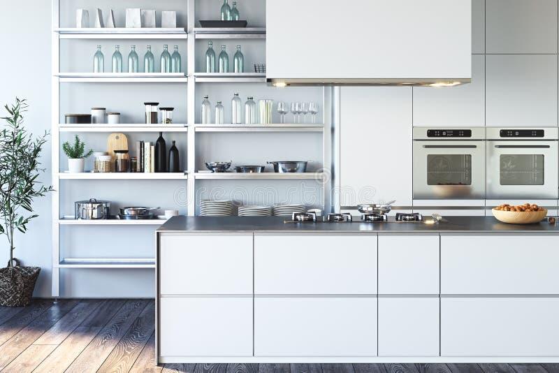 Innenraum der hellen modernen stilvollen Küche mit großem Schrank und Tabelle Wiedergabe 3d lizenzfreie abbildung
