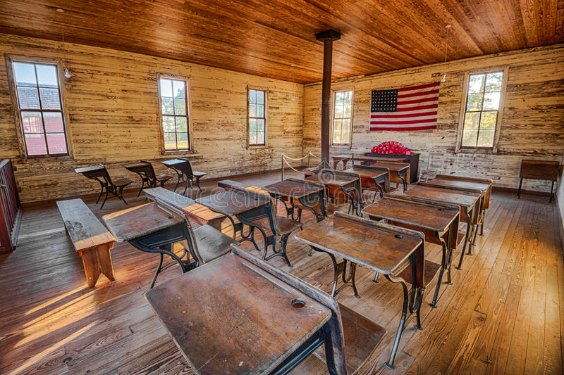 Innenraum der historischen Einraum Schule in Dothan, Alabama lizenzfreie stockfotos