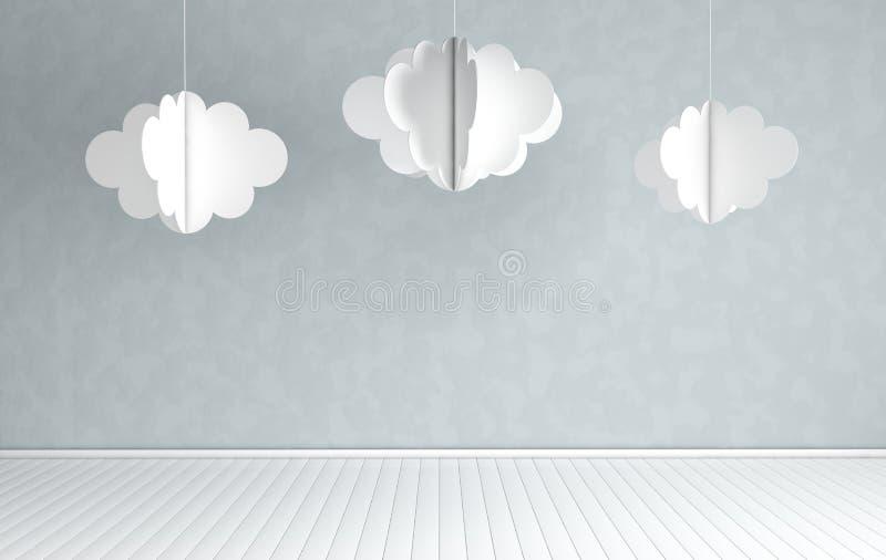 Innenraum der Kindertagesst?tte mit moderner Papierwolkendekoration 3d ?bertragen Wei?e und graue Farben Angenehmes childroom mit lizenzfreie abbildung