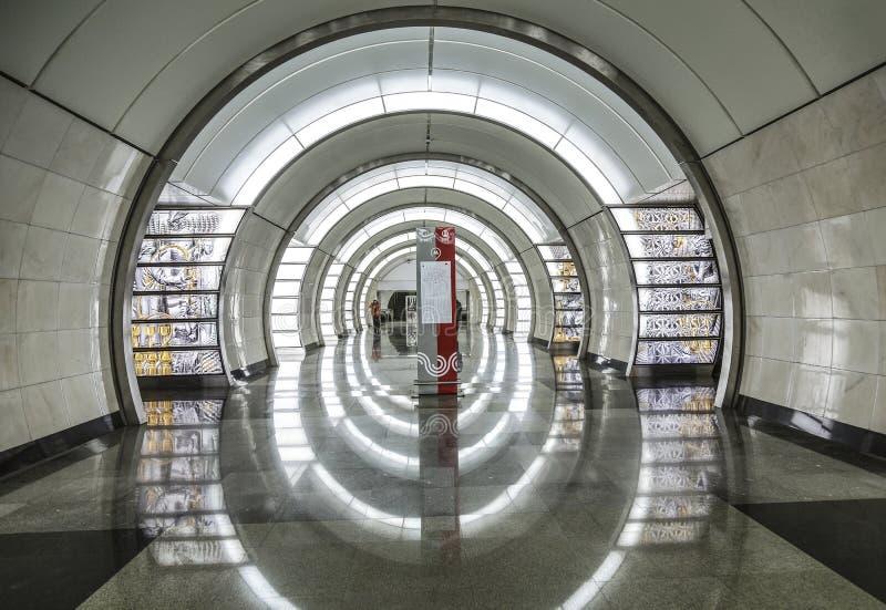 Innenraum der Metrostation Fonvizinskaya, Moskau stockbild