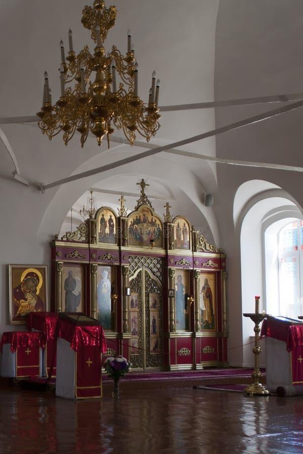 Innenraum der Russisch-Orthodoxen Kirche Preobrazheniya Gospodnya, die ab 1800 datiert und eine von t ist lizenzfreie stockfotos