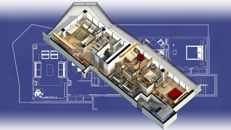Innenraum der Wohnung 3d auf einem Plan vektor abbildung