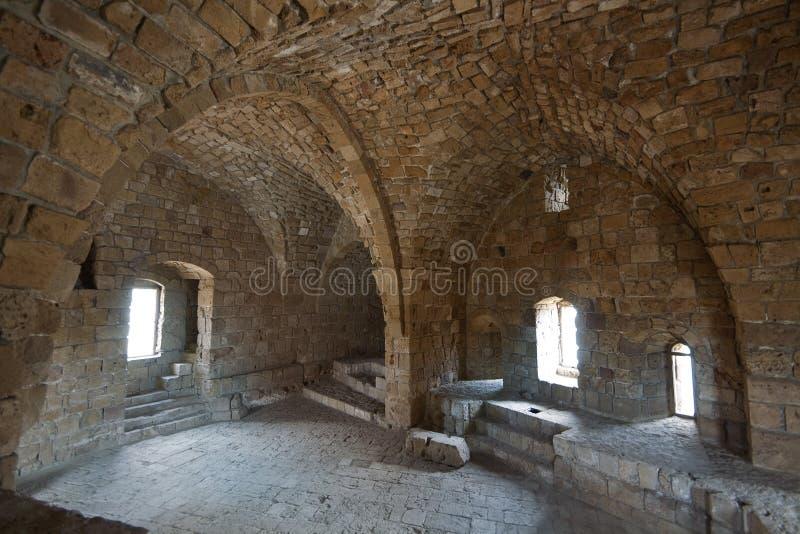 Innenraum des alten Schlosses in Saida, der Libanon lizenzfreies stockbild