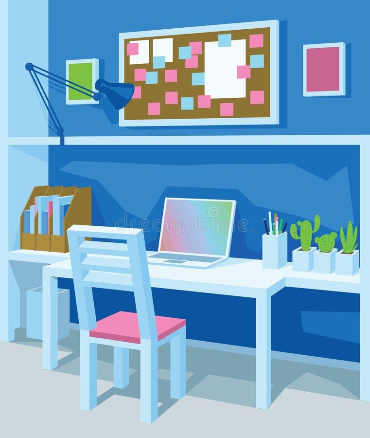 Innenraum des Arbeitsplatzes in der Karikaturart perspektive Innenministerium in der blauen Farbe stock abbildung