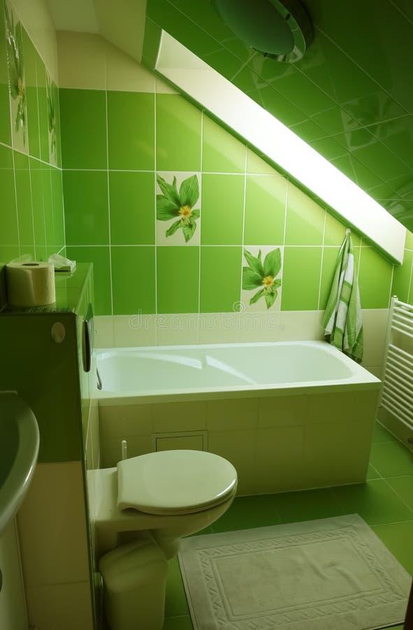 Innenraum des Badezimmers in der grünen Farbe lizenzfreie stockfotos