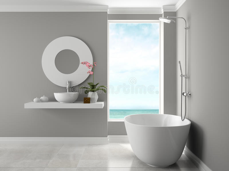 Innenraum des Badezimmers mit Wiedergabe der Seeansicht 3D lizenzfreies stockfoto