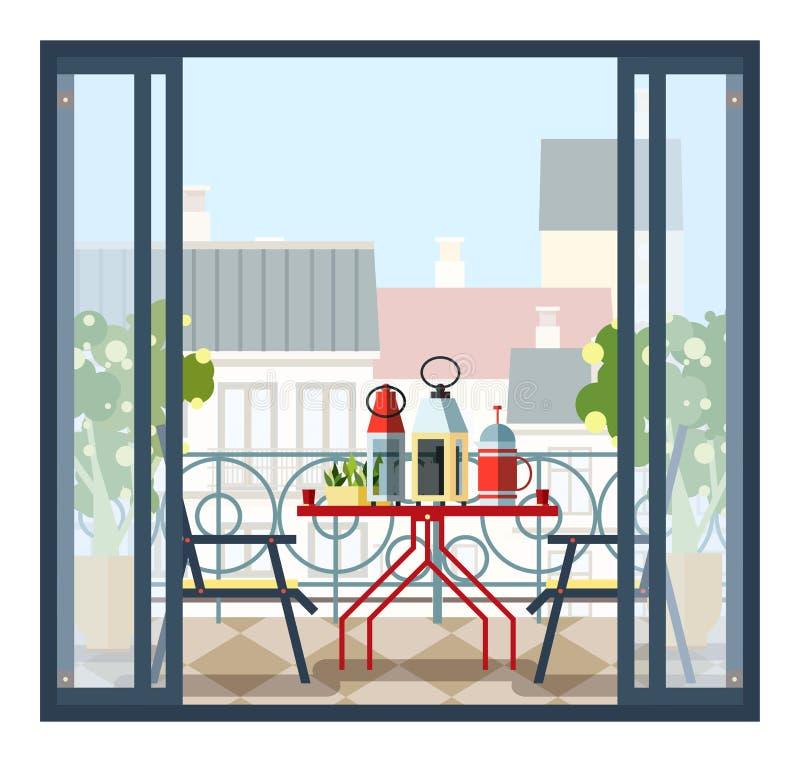 Innenraum des Balkons, der Tabelle und der Stühle, eingemachte Bäume Schöne Landschaft, Ansicht der Stadt von der offenen Tür Bun lizenzfreie abbildung