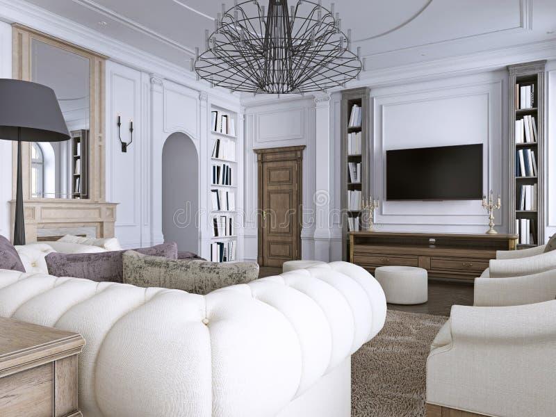 Innenraum des bequemen und hellen Wohnzimmers in der klassischen Art stock abbildung