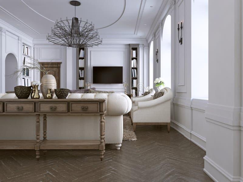 Innenraum des bequemen und hellen Wohnzimmers in der klassischen Art vektor abbildung