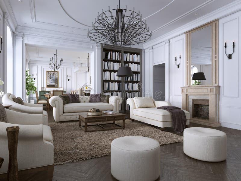Innenraum des bequemen und hellen Wohnzimmers in der klassischen Art lizenzfreie abbildung