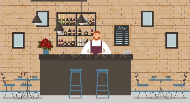 Innenraum des Cafés oder der Stange in der Dachbodenart Stangenzähler, Barmixer im weißen Hemd und Schutzblech, Tabellen, Poinset lizenzfreie abbildung
