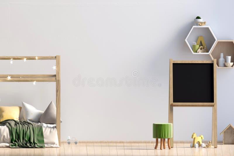 Innenraum des childroom Schlafenplatz Abbildung 3D mock lizenzfreie abbildung