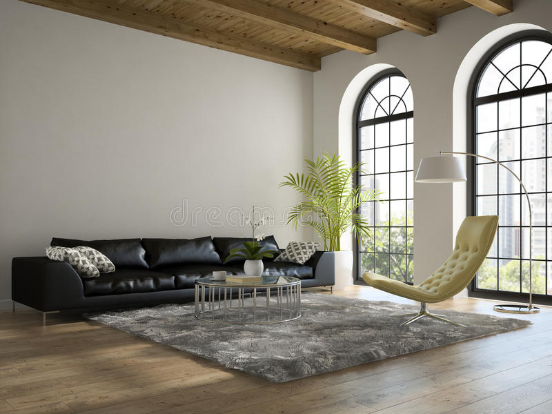 Innenraum des Dachbodens mit schwarzer Wiedergabe des Sofas 3D lizenzfreie stockfotografie