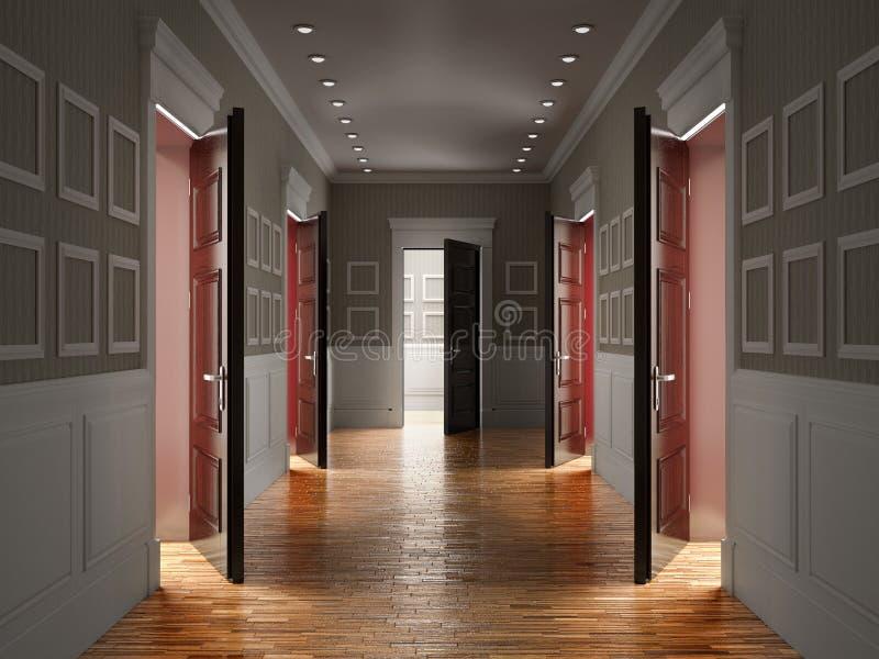 Innenraum des dunklen Korridors Abbildung 3D lizenzfreie abbildung