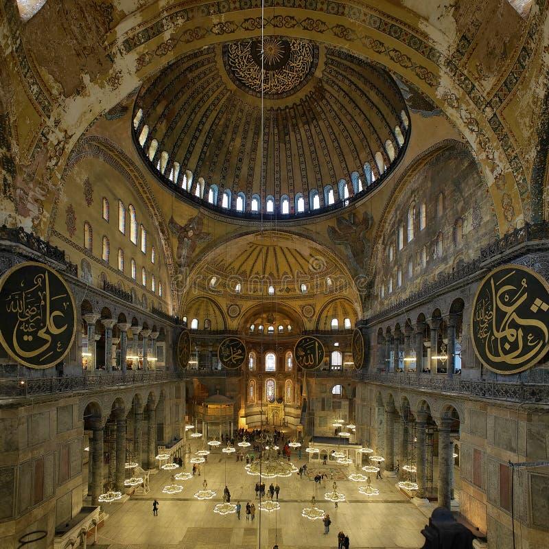 Innenraum des Hagia Sophia in Istanbul stockbild