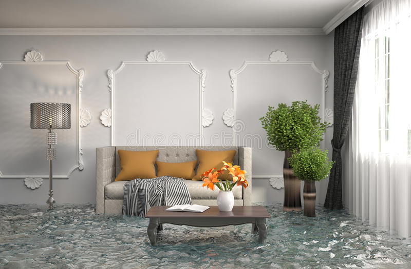 Innenraum des Hauses überschwemmt mit Wasser Abbildung 3D stock abbildung
