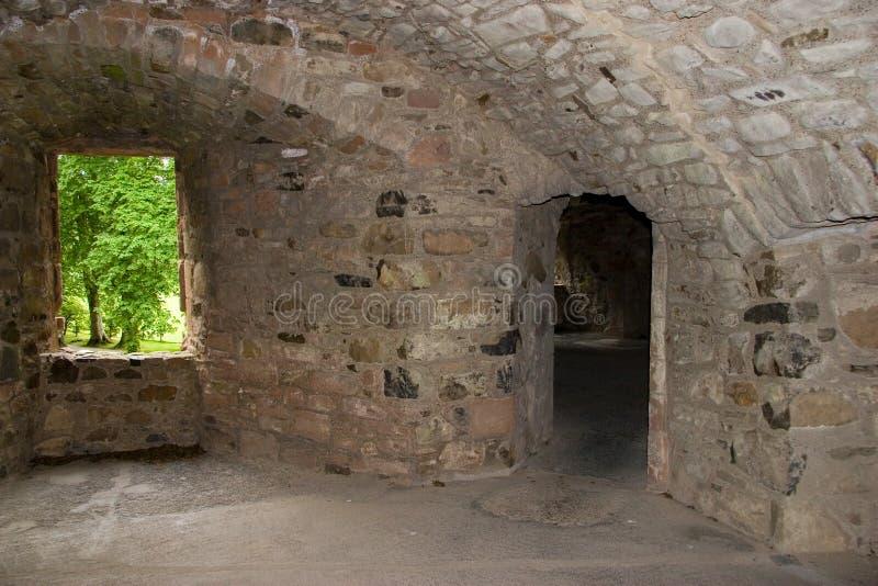 Innenraum des Huntly Schlosses stockbilder