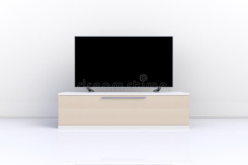 Innenraum des leeren Raumes mit Fernsehen, Wohnzimmer führte Fernsehen auf weißer Wand mit moderner Dachbodenart des Holztischs stockfotos