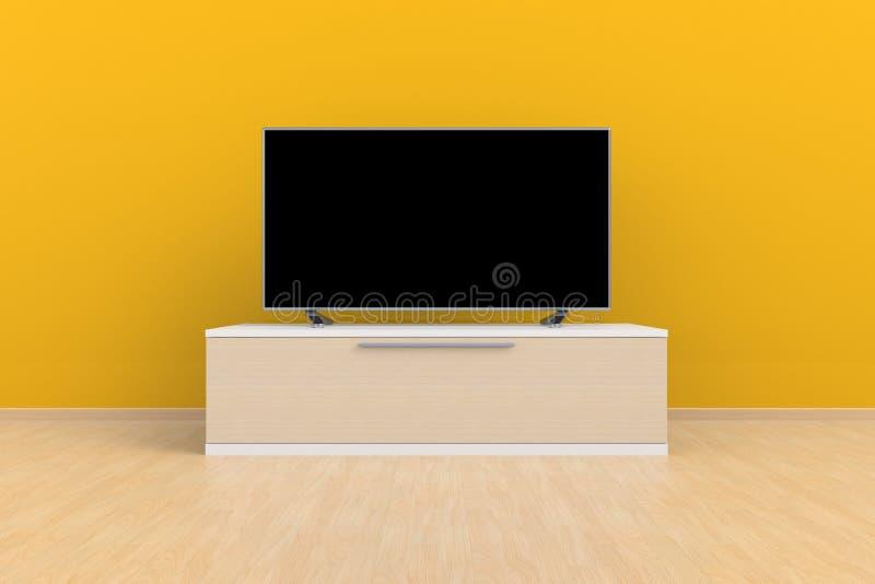 Innenraum des leeren Raumes mit Fernsehen, Wohnzimmer führte Fernsehen auf gelber Wand mit moderner Dachbodenart des Holztischs stock abbildung