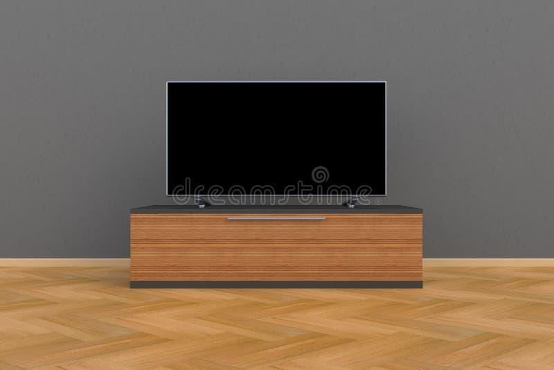 Innenraum des leeren Raumes mit Fernsehen, Wohnzimmer führte Fernsehen auf grauer Wand mit moderner Dachbodenart des Holztischs vektor abbildung