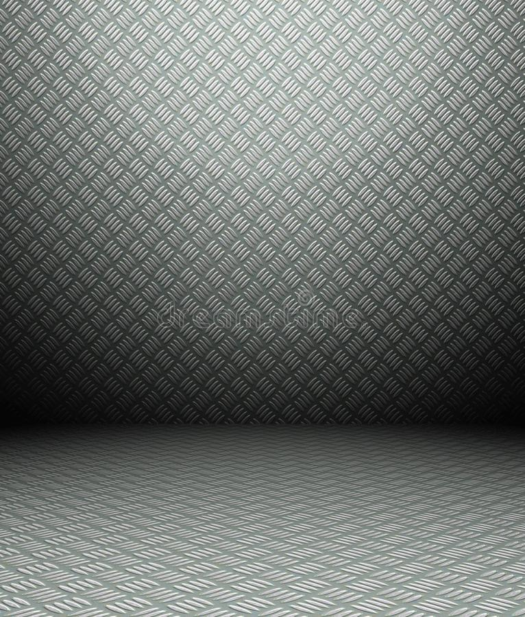 Innenraum des Metall 3d, grunge Wand lizenzfreie abbildung
